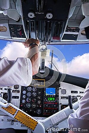 Airplane cockpit.