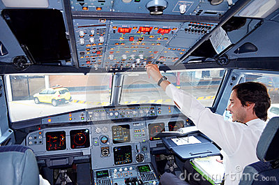 Airplane cockpit Editorial Photo