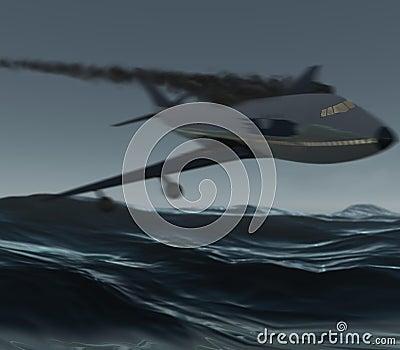 Airplane crashing into ocean