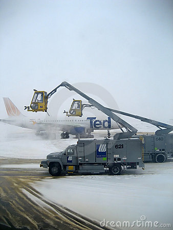 Airplane Deicing Operations Editorial Photography