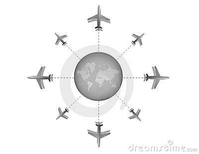 Airplane destination design illustration