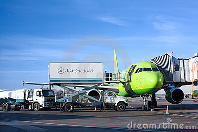 Airplane in Domodedovo airport in Moscow, Russia Editorial Stock Photo