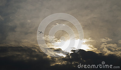 Airplane with dramatic sky