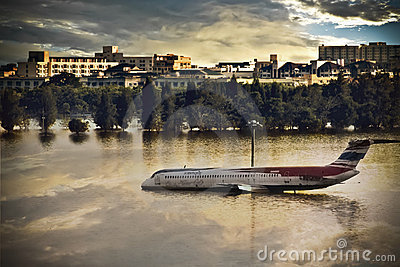 An Airplane drowns in the water Editorial Stock Photo