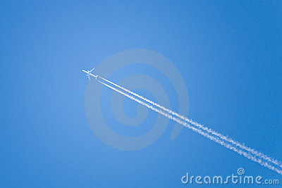 Airplane fly at blue sky