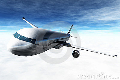 Airplane Flying 3D render
