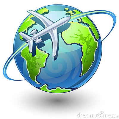Airplane flying the earth