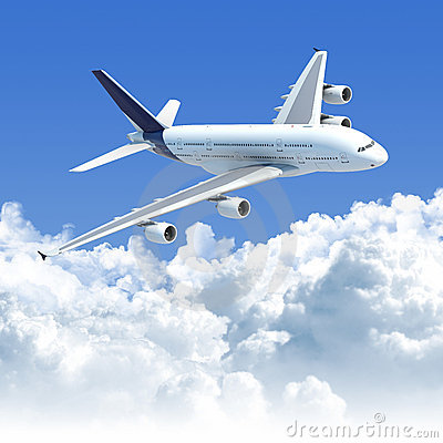 Free Airplane Flying Over The Clouds Side Front View Stock Photo - 15073190