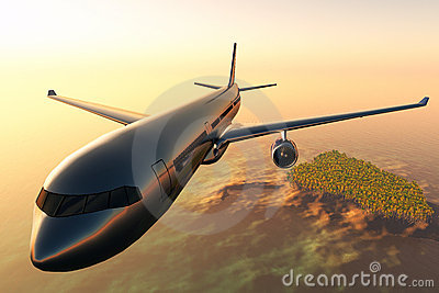 Airplane flying over a tropical island 3d render