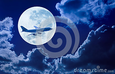 Airplane Flying Sky Moon