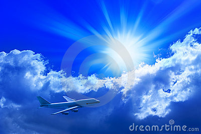 Airplane Flying Sun Sky