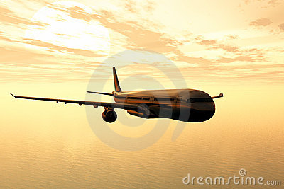 Airplane flying in the sunset 3D render