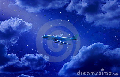Airplane Flying Travel Night Sky