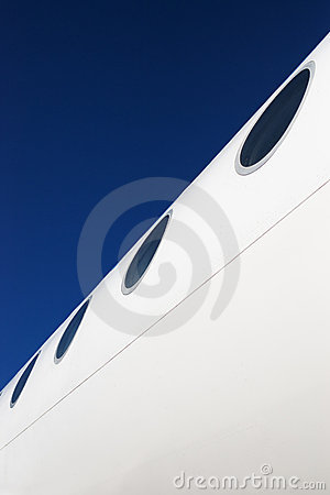 Airplane fuselage with windows