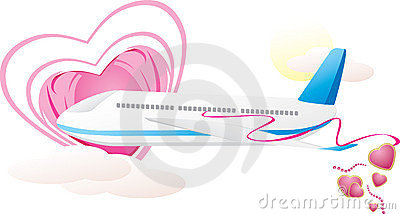 Airplane with hearts. Romance composition