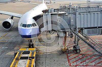Airplane in Hongkong Airport working yard Editorial Photo