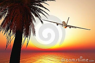 Airplane leaving tropical paradise 3D render