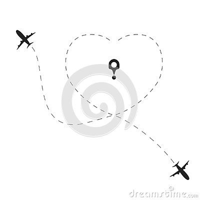 Airplane with love dotted route. Travel heart line path concept Planes traces in heart shape Vector Illustration