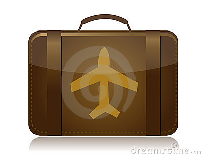 Airplane luggage brown illustration