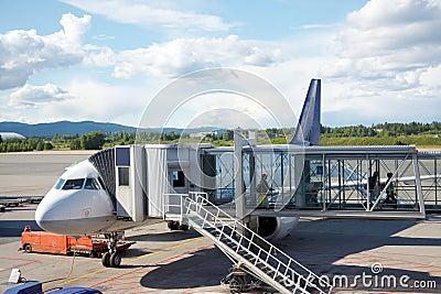 Airplane near a terminal