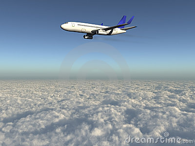 Airplane over clouds 3d