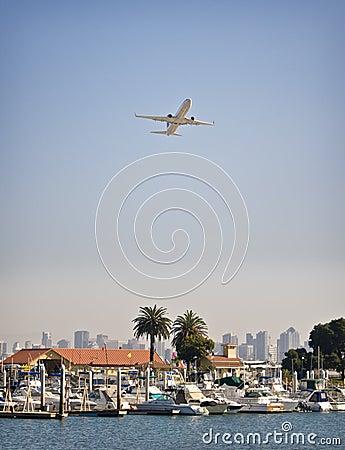 Airplane over Marina, San Diego California