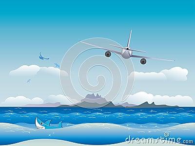 Airplane over Sea