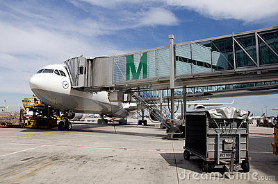 Airplane parked on Munich airport Editorial Photo