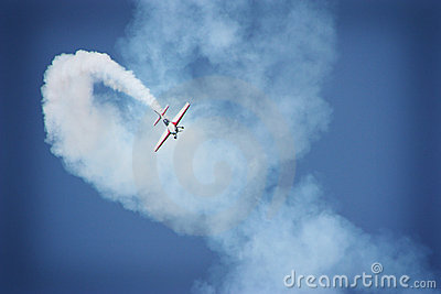 Airplane performing during airshow