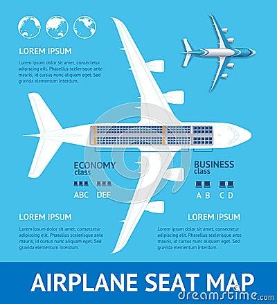 Free Airplane Plan Seat Map Card. Vector Royalty Free Stock Image - 109753586