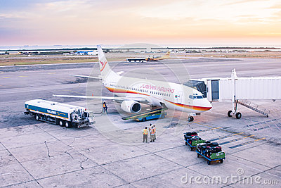 Airplane on platform Editorial Stock Image
