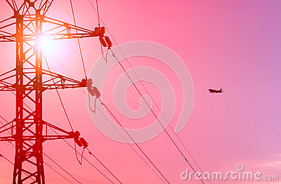 Airplane and power line