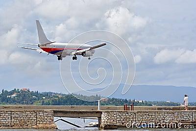 Airplane preparing to land