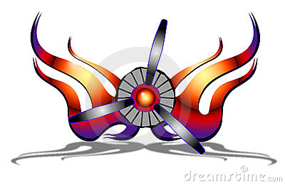 Airplane Propeller with Flames