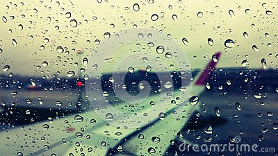 Airplane Rain view Stock Photo