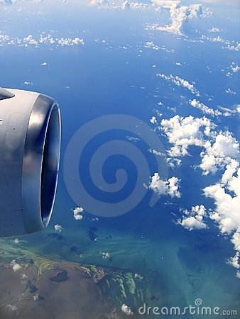 Free Airplane Reactor Sky View From Aircraft Stock Photography - 13895282