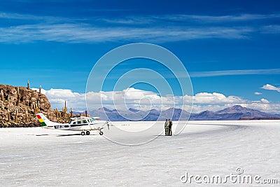 Airplane on Salt Flats Editorial Image