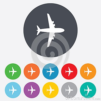 Free Airplane Sign. Plane Symbol. Travel Icon. Royalty Free Stock Photography - 36728117
