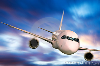 Airplane In The Sky Stock Image - Image: 7647101