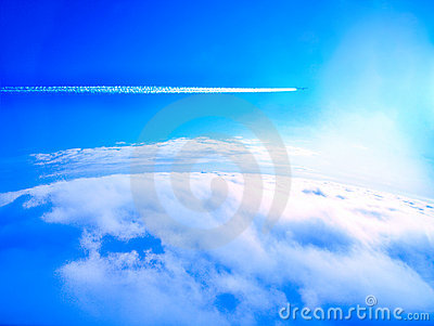 Airplane smoke trails (condensation trails)