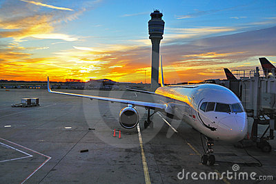 Airplane at sunrise