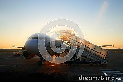 Airplane and sunrise