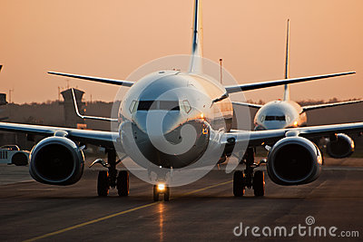 Airplane in sunset Editorial Photography