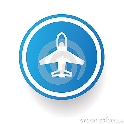 airplane symbolblue button royalty free stock photography