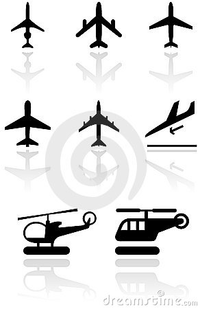 Airplane symbol vector illustration set.