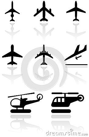 Airplane symbol vector illustration set.