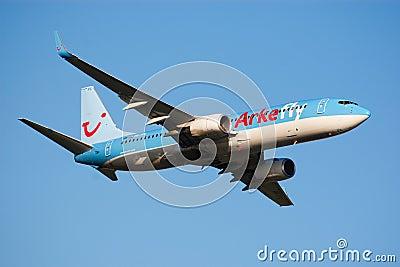 Airplane take-off Editorial Stock Photo