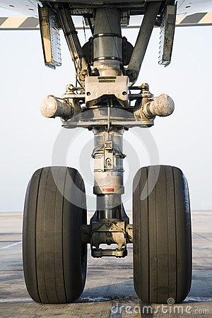 Airplane wheel close-up