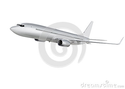 Airplane on white background with path