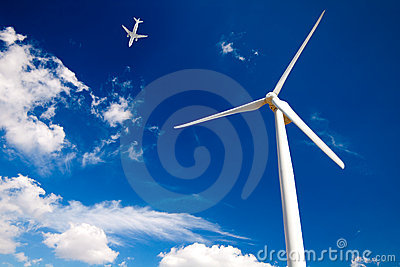 Airplane and Wind turbine